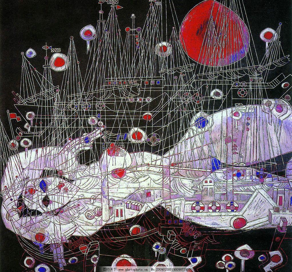 月夜 中国工笔画 背景 蒋铁峰 抽象 人物 美女 妇女 小船 月亮