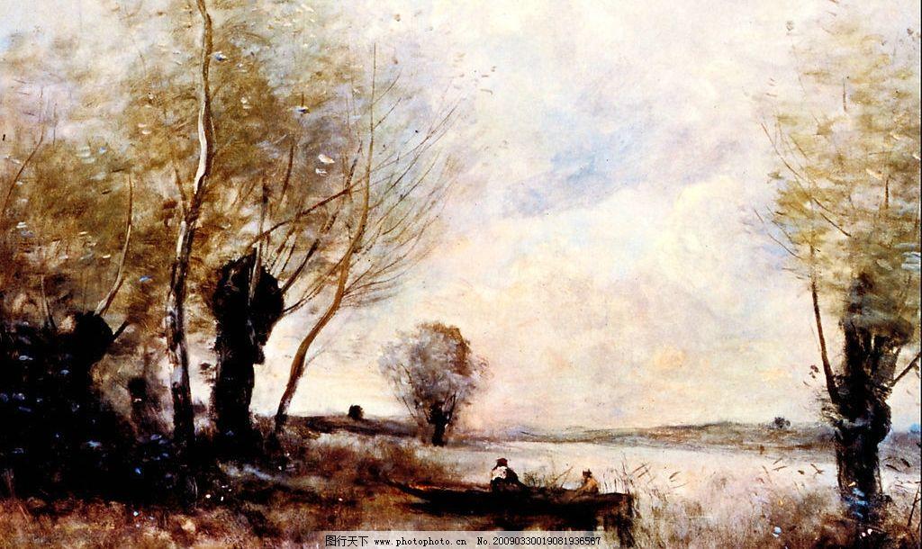 风景油画 现代油画 风景 意境 欧式油画 树 山石 奇观 天空 相框 装饰