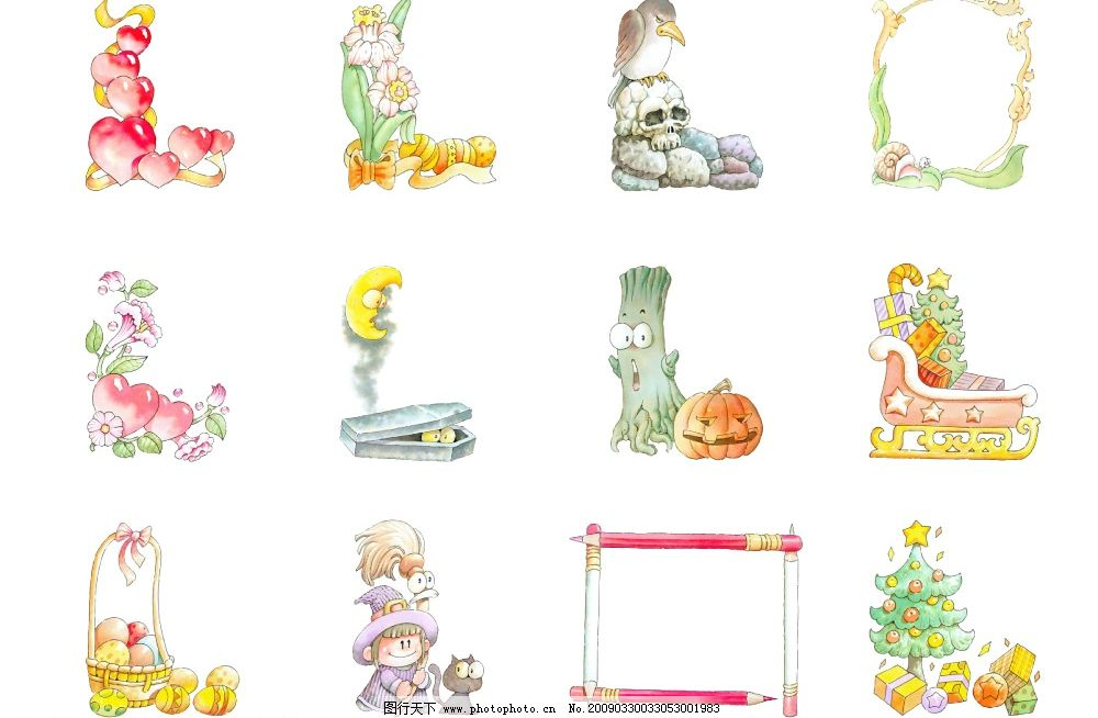 卡通 边框 插图 水果 铅笔 爱心 圣诞树 花 月亮 psd分层素材 源文件