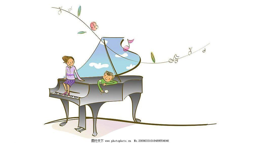 卡通人物 钢琴 素材 人物 背景 漫画 动漫动画 风景漫画 设计图库 72