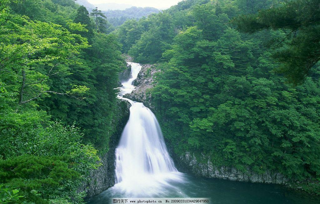 瀑布 自然景观 山水风景 摄影图库 350dpi jpg